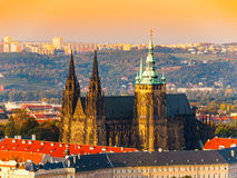 Aerial view of St Vitus Cathedral and Castle in Prague from Petrin Hill Observation Tower in Czech Republic Stock Images