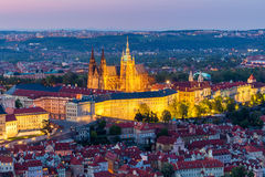 Aerial view of St. Vitus Cathedral and Prague Castle (Hradcany) at night. From Petrin hill Observation Tower, Czech Republic royalty free stock image