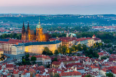 Aerial view of St. Vitus Cathedral and Prague Castle (Hradcany) at night Stock Photography