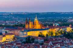 Aerial view of St. Vitus Cathedral and Prague Castle (Hradcany) at night Royalty Free Stock Images