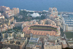Aerial view of Stade Louis II and Fontvieille in Monaco Stock Photos