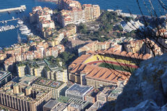 Aerial view of Stade Louis II and Fontvieille Royalty Free Stock Image
