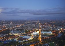 Aerial view of stadiums, Melbourne Stock Images