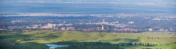 Aerial view of Stanford. Palo Alto, Menlo Park, Redwood City and the San Francisco bay shoreline in the background, Silicon Valley, California royalty free stock photo