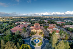 Aerial view of Stanford University Campus - Palo Alto, California, USA. PALO ALTO, USA - January 11, 2017: Aerial view of Stanford University Campus - Palo Alto royalty free stock photos