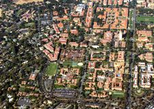 Aerial view Stanford University. From high above Stanford University an overview of the buildings with the pool, classrooms, and Hoover Tower Stock Images