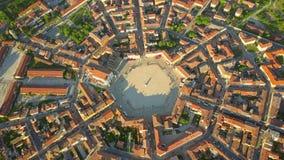 Aerial view of star-shape town of Palmanova, Italy Stock Photo