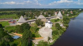 Staraya Ladoga fortress and the Volkhov River royalty free stock photo