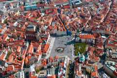 Aerial view of Staromestska square. And Maria Church in Prague, Czech Republic Royalty Free Stock Images