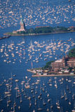 Aerial view of statue of Liberty. Statue of Liberty, Aerial View & Sailing Ships in Harbor, New York, New York Royalty Free Stock Image