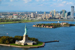 Aerial view of the Statue of Liberty and Ellis Island. NEW YORK - OCTOBER 15: Aerial view of the Statue of Liberty and Ellis Island on October 15 2010. From 1892 stock image