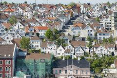 Aerial view of Stavanger city historical buildings in Stavanger, Norway. Stock Images