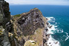 Aerial view of steep cliffs from Cape Point stock photo