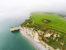 Aerial view on the steep coast of Normandy. Near the town of Etretat Royalty Free Stock Photography