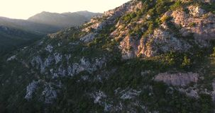 Aerial view of steep mountain cliff in spain. 4k stock video