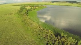 Aerial view of in the steppe with lake of Kazakhstan stock video footage