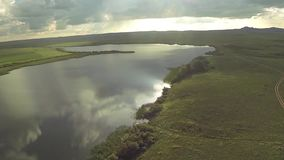 Aerial view of in the steppe with lake of Kazakhstan stock video