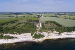 Aerial view of Stevns lighthouse Denmark Royalty Free Stock Images