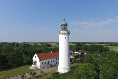 Aerial view of Stevns lighthouse, Denmark Royalty Free Stock Photos