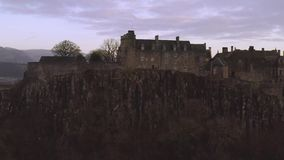 Aerial view of Stirling Castle on top of the rocky hill in central Scotland