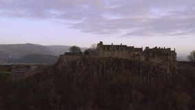 Aerial view of Stirling Castle on top of the rocky hill in central Scotland. It used to be a residence of Scottish kings stock video
