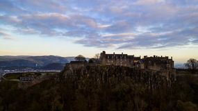 Aerial view of Stirling Castle on top of the rocky hill in central Scotland. Winter aerial view of Stirling Castle on top of the rocky hill in central Scotland stock photo
