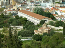Aerial view of the Stoa of Attalos and the Church of the Holy Apostles in Athens Royalty Free Stock Photo