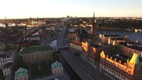 Aerial view of Stockholm City stock video footage