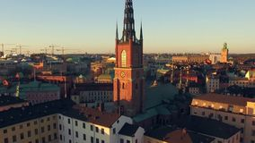 Aerial view of Stockholm City. In sunrise stock video