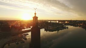 Aerial view of Stockholm City stock footage