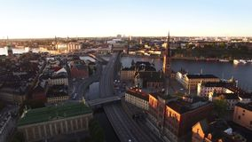 Aerial view of Stockholm City stock video