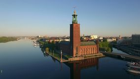 Aerial view of Stockholm City. In sunrise stock video footage