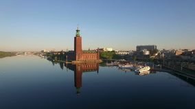 Aerial view of Stockholm City. In sunrise stock footage