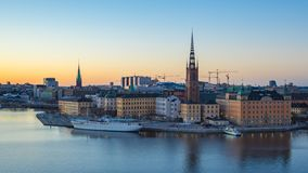 Aerial view of Stockholm Gamla Stan skyline day to night Timelapse in Sweden, Time Lapse.  stock video