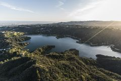Stone Canyon Reservoir Aerial in Los Angeles California Stock Photography