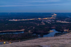 Aerial view from Stone Mountain at twilight, USA Royalty Free Stock Photography