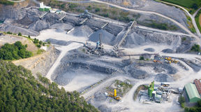 Aerial view : Stone quarry Stock Photos