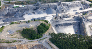 Aerial view : Stone quarry Stock Image