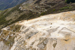 Aerial view of stone quarry, Orobie Stock Images