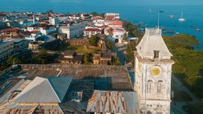 Aerial view of the historical stone town in Zanzibar. Aerial view of the stone town in Zanzibar royalty free stock image