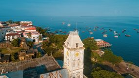 Aerial view of the historical stone town in Zanzibar. Aerial view of the stone town in Zanzibar stock photos