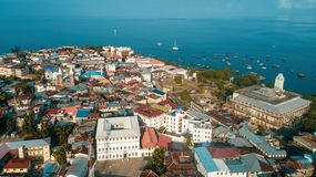 Aerial view of the historical stone town in Zanzibar. Aerial view of the stone town in Zanzibar royalty free stock photo