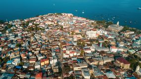 Aerial view of the historical stone town in Zanzibar. Aerial view of the stone town in Zanzibar royalty free stock photography