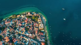 Aerial view of the historical stone town in Zanzibar. Aerial view of the stone town in Zanzibar stock photography