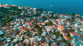 Aerial view of the historical stone town in Zanzibar. Aerial view of the stone town in Zanzibar royalty free stock images