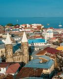 Aerial view of the historical stone town in Zanzibar. Aerial view of the stone town in Zanzibar stock photo