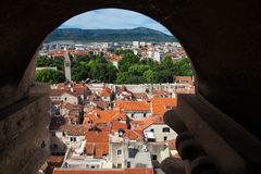 Aerial view through stone window, Diocletian palace stock photos