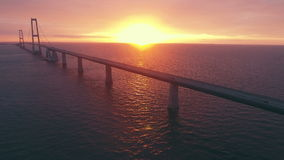 Aerial view of the Storebaelt bridge in Denmark. stock video