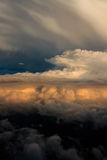 Aerial view of storm clouds at sunset Stock Image