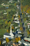 Aerial View of Stowe, Vermont. Aerial view of Union meeting house in Stowe, Vermont in autumn Stock Photos